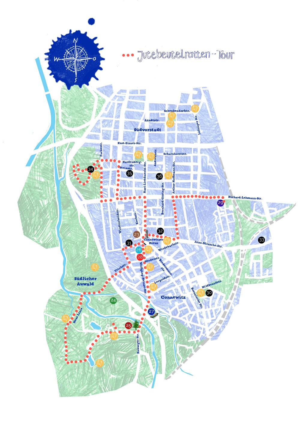 Stadtplan, Ausflug, Paul in Leipzig